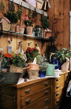 flower shed Flowers held in vintage Ralph Lauren clay pots, await to be planted in a beautiful country garden Garden Shed Interiors, Garden Sheds, Cabana, Greenhouse Shed, Potting Tables, Garden Design, House Design, Growing Greens, Potting Sheds