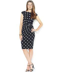 Lauren Ralph Lauren Dress Cap-Sleeve Polka-Dot Side-Knot Dress