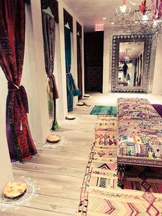 Beautiful design for a walk in closet or dress up room. via Gypsy River