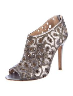 Chanel Gold Zipper Flower Ankle Pewter Boots