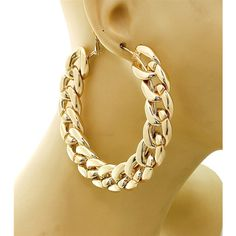 Gold Chain Hoops ($12) ❤ liked on Polyvore featuring jewelry, earrings, accessories, chains jewelry, yellow gold earrings, gold jewelry, yellow gold jewelry and chain earrings