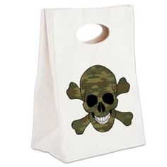 Camouflage Skull And Cross Bones Canvas Lunch Tote > Lunch Bags > Atteestude T-Shirts And Gifts  #school supplies