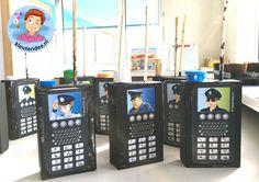 Portofoon knutselen met kleuters, thema politie, kleuteridee.nl, met gratis download, Kindergarten Walky-Talky, Police theme