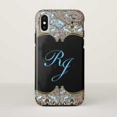 Villa Baroque French Bleux Monogram iPhone X Case - monogram gifts unique design style monogrammed diy cyo customize