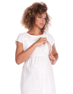 Seraphine's White Broderie Anglaise Maternity & Nursing Dress is an elegant option, perfect before, during and after pregnancy. Maternity Nursing Dress, Maternity Clothing, Nursing Pajamas, After Pregnancy, Frocks, Breastfeeding, Feminine, Curves, Clothes