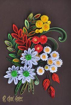 Printre hobby-uri: quilling, kusudama, origami, bijuterii handmade...: Quilling - Autumn flowers