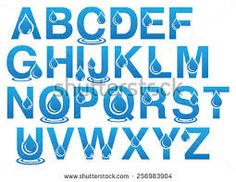Shutterstock .Complete St English Alphatets Uppercase with water droplet design. jpg