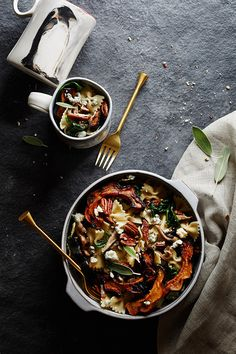 Browned-Butter Pasta with Roasted Squash and Gorgonzola