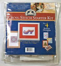 DMC Creative World CROSS-STITCH Starter Kit with 4 Bonus Designs 2003 #CreativeWorld #StarterKit