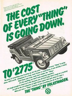 Vintage Volkswagen VW Thing Print Ad Poster Art Affiliate