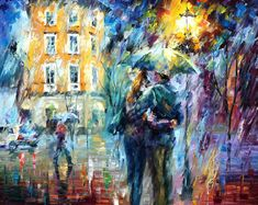 "City Rain — PALETTE KNIFE Contemporary Fine Art Oil Painting On Canvas By Leonid Afremov - Size: 30"" x 24"" inches (75 cm x 60 cm)"