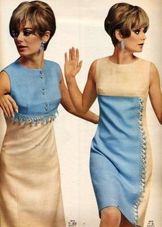Burda moden, 1966 vintage fashion style color photo print ad models magazine 60s blue white linen shift sheath dress