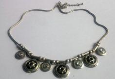 Choker Necklace Silver Charm Bead Bib Collar by BrownJewels