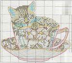 Мобильный LiveInternet Схемы вышивки - котенок в кружке и в горшочке   Марриэтта - Вдохновлялочка Марриэтты  