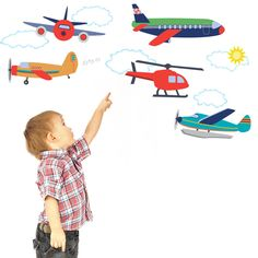 Airplanes and Helicopter Wall Decals (above chair rail)