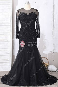 b0d1f204f48 Charming Black Lace Tulle Illusion Long Sleeve Jewel Neck Long Mermaid Prom  Dress