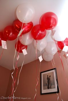 One balloon for each year of marriage, labeled with memories...works for an anniversary too.