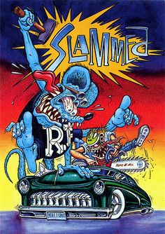 Rat Fink Ed Big Daddy Roth. Rat Fink, Weird Cars, Cool Cars, Ed Roth Art, Monster Car, Garage Art, Lowbrow Art, Car Drawings, Big Daddy
