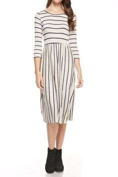 Fit and Flare Midi Dress with Pockets in Solid and Striped