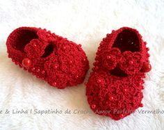 Sapatinho Crochê Amor Perfeito Vermelho
