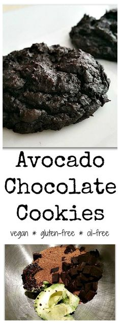 Chocolate Avocado Cookies -- these fudgy, decadent cookies are vegan, gluten-free, nut-free, oil-free, and paleo! This recipe doesn't even taste healthy -- it tastes like your favorite gooey brownies.