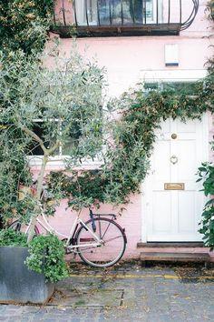 pink houses + vintage bikes