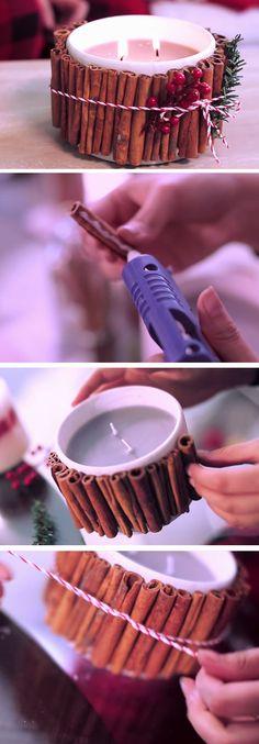 Cinnamon Stick Candle | 25+ DIY Christmas Decor Ideas for the Home
