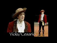 The main character, Viola, who also poses as a man, Cesario.