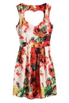 Floral Print Heart Cut-out Dress  $33.99  #romwe  romwe.com #Romwe