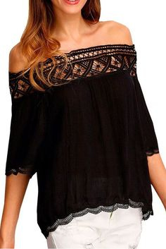 €11.36 @Modebuy #modebuy  Blouses Crochet Dentelle Noir Garniture Epaules Denudees Crepe #fashion #me #Noir #mode #gros #beautiful #follows #like4like #l4l #lingerie #beauty #pleasecomment #liker