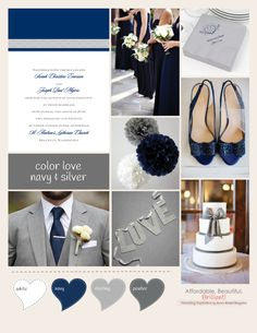 Color Love: Navy and Sliver I Advice and Inspiration from Ann's Bridal Bargains #weddingcolors #navy #silver