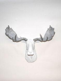 The Theodora | Moose Head | Faux Taxidermy | White Moose Head W/Silver Glitter Antlers
