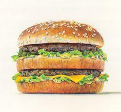 Big Mac by Joel Penkman Joel Penkman, Food Art, A Food, Food Cartoon, Food Stickers, Food Painting, A Level Art, Realistic Paintings, Big Mac