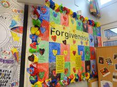 Forgiveness school display. Year 2 Display Boards For School, School Displays, Classroom Displays, Reading Room, Sunday School, Forgiveness, Preschool, Year 2, Teaching