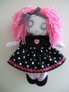 """OOAK Handmade Goth Punk Emo Art 10"""" Little Stella Gothic Girl  Cloth Rag Doll"""