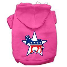 Democrat Screen Print Pet Hoodies Bright Pink Size Med (12)