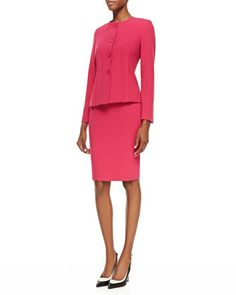 Two-Piece Knit Skirt Suit, Fuchsia by Albert Nipon at Neiman Marcus.