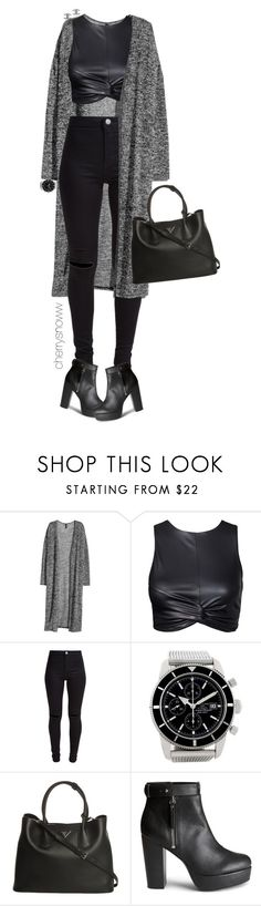 """Grunge chic black fall outfit"" by cherrysnoww ❤ liked on Polyvore featuring H&M, New Look, Breitling, Prada and Chanel"