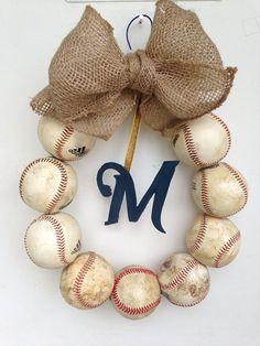 Milwaukee Brewers Burlap Baseball Wreath by NTgoodthings on Etsy, $48.00