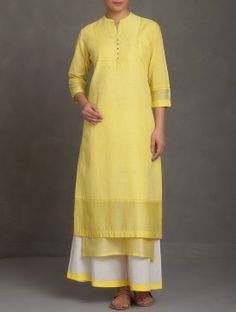 Yellow Embroidered Mandarin Collar Button Embellished Cotton-Linen-Chanderi Kurta