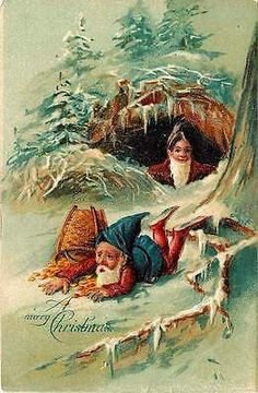 """Fantasy Merry Christmas 1908 Gnomes Gold Coins Collectible Vintage Postcard """"A Merry Christmas"""" postcard of gnome who has fallen and spilled his basket of gold coins. Used collectible antique vintage"""