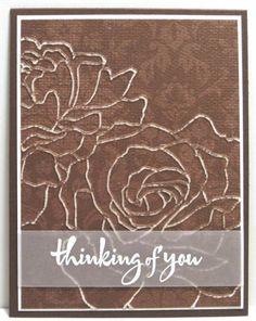 ** tara ** embossed rose thinking of you