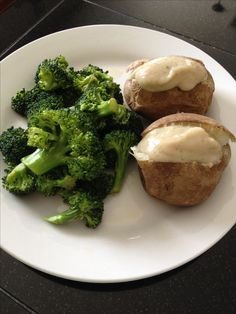 Simple, easy, quick vegan dinner! High carb and low fat. Baked potatoes with puréed white beans (blend beans with lemon juice and herbs of choice, to create a thick sauce) and broccoli in veggie broth. Healthy! Mcdougall starch solution.