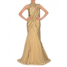 Golden Beige Lengha Gown with Sequined Drapes