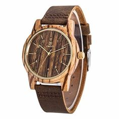 Wooden Watch Bamboo Wood Wristwatch Genuine Leather Band Bracelet Men Gift New #WoodenWatchBamboo #Casual