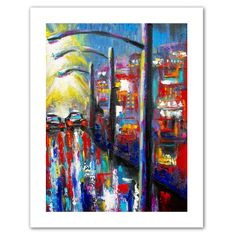 '8 O'Clock Street Lights' by Susi Franco Painting Print Canvas