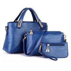 PU Leather Handbag Casual Shoulder 3PCS Bags Set (22 CHF) ❤ liked on Polyvore featuring bags, handbags, shoulder bags, blue, purses crossbody, handbag purse, handbags crossbody, handbags shoulder bags and crossbody purse