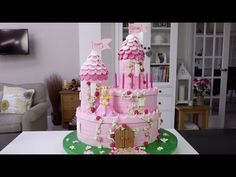 "How To Make A Princess Castle Cake - Part 1 10"" 6"" and 2 cakes baked in cans for turrets"