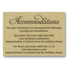 Hotel accommodation card black chalkboard charm accommodations burlap wedding accommodation reception cards stopboris Images