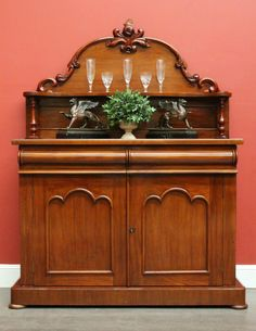 Antique English Mahogany 2 Drawer / Door Sideboard Cabinet Cupboard Buffet c1860